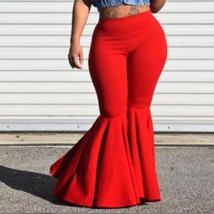Tag on! Plus size Red High Waisted Flare Pants